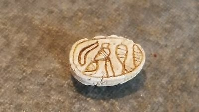 Ancient Egyptian Small Soapstone SCARAB Amulet, Hieroglyphics, 1782 - 1570 BC