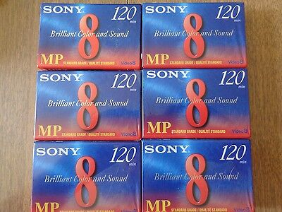 6 Tape Lot Sony Digital Hi8 Camcorder Tape P6-120 MPD New Sealed