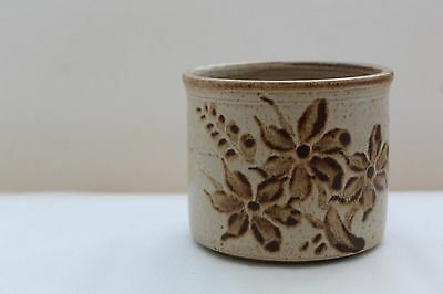 Vintage Hand Painted Stoneware Pottery Plant Pot with Flower Design