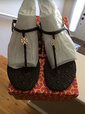 Tory Burch Marion Quilted Sandal Black Leather Thongs Flip Flop Size 6 Slide