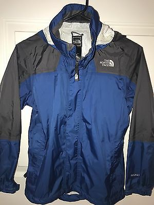 North Face Hyvent Rain Wind Jacket Hooded Blue Gray Youth Size M 10/12 Nylon