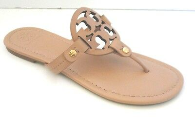 TORY BURCH NUDE Leather MILLER Flat Thongs Flip Flops Shoes 8.5 ~ $195