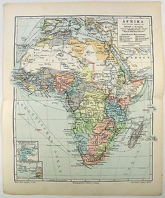 Original 1899 Map of Colonial Africa by Meyers