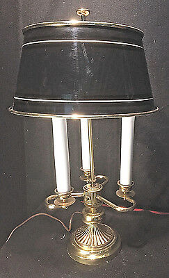 Vintage Brass 3-Candle Table Lamp w Bouillotte Style Tole Metal Shade