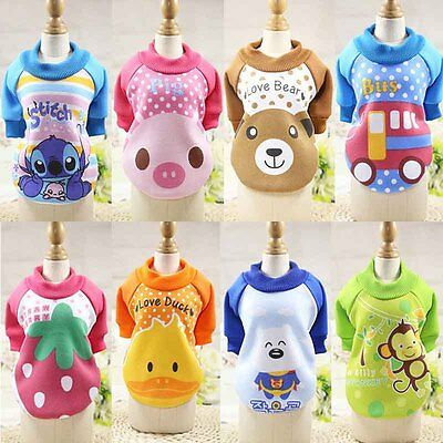 New Small Pet Dog Cat Puppy Clothes Cartoon Printed Sweatshirt Tops Outfits