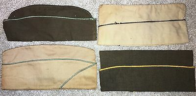 4 early WWII US Army overseas caps, 2 Armored force, 1 cavalry, 1 officer
