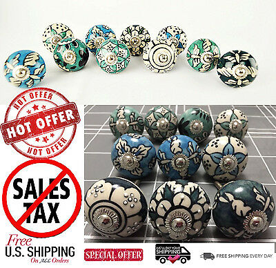 10PCS Ceramic Hand Painted Cabinet Knob Cupboard Drawer Pull Handle Door 1.5""