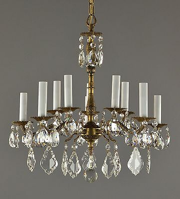 Spanish Brass & Crystal Chandelier c1950 Vintage Antique Restored Gold Ceiling