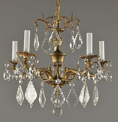 Spanish Brass & Crystal Chandelier c1950 Vintage Antique Restored Gold Gilt