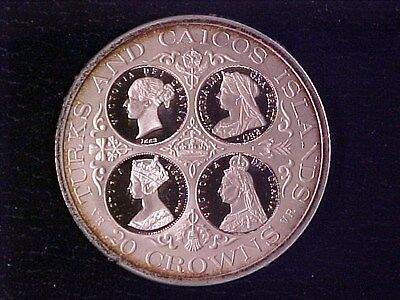 Turks & Caicos 20 Crowns Large Silver Proof 1976 4 Queens Nice Cameos