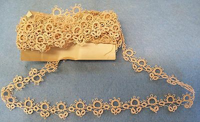 "Antique Vintage HAND TATTED Edging Lace Trim 8+ FEET 102"" dolls Crafts AMAZING"