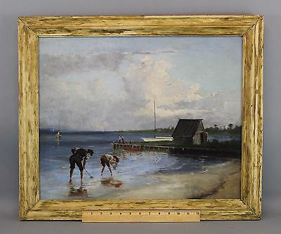 Antique 1882 American Impressionist Clam Diggers Seascape Beach Oil Painting