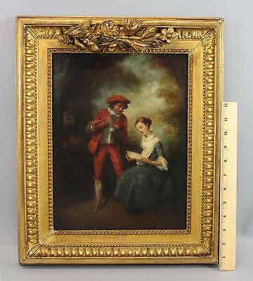 Antique 18thC O/C Oil Painting Flute Player & Singing Woman, Gold Gilt Frame NR