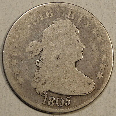 1805 Draped Bust Quarter, Browning-3, Original Problem Free ANACS Certified Coin