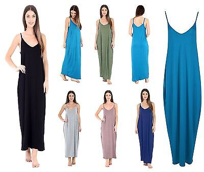 Womens Maxi Dress Ladies Camisole Strappy Lagenlook Spanish  Drape Baggy Dress