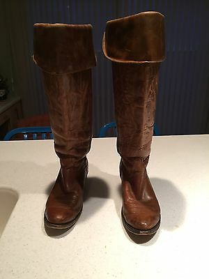 Ladies Distressed Leather Charley Horse Cowboy Boots Size 10M Golden Brown