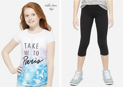NWT JUSTICE Girls 8 10 12 Paris Graphic Tee & Black Crop Leggings Outfit