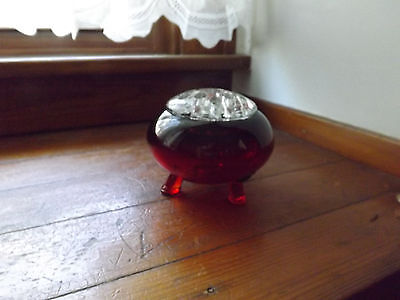 Viking glass flower frog - red with clear glass flowerlite frog