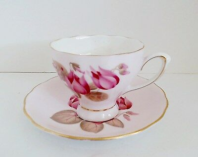 Colclough Cup & Saucer Pink Lotus Type Flower English Bone China VTG 1950 EUC