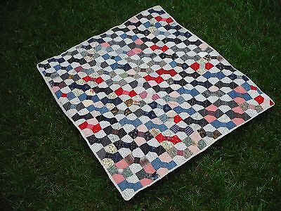 """Antique Bow Tie Quilt made 1890 to 1900;  38"""" x 44"""""""