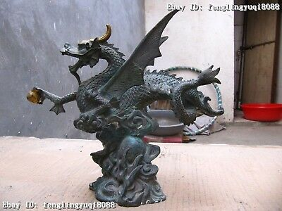 """8"""" Chinese Folk vintage old Bronze Copper Carved Fly Wings Dragon Statue"""