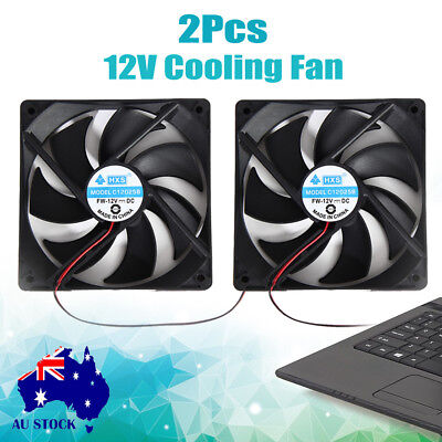 2pcs 120x25mm 12V 4Pin DC Black Brushless Case PC Computer Cooling Fan Cooler AU