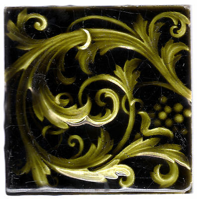 Trent Tile Co. c1886 - Green Scroll Relief Design - Antique Majolica Tile