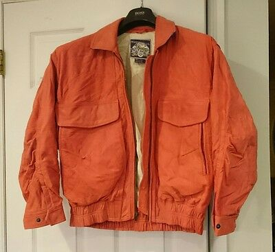 Vintage red leather bomber jacket Men's sz M