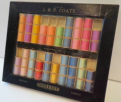 Antique 1930's J. & P. COATS thread display box with SILK & COTTON THREAD NOS