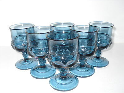 Blue Kings Crown Juice 6 Glasses Thumbprint Cordials Glasses Indiana Glass
