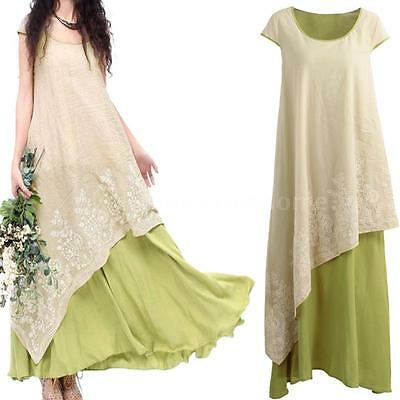 efc4894d8f30 Womens Plus Size Vintage Cotton Kaftan Long Maxi Dress Casual loose Dresses