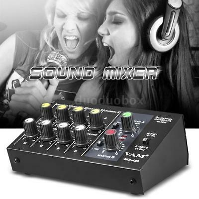 Ultra-compact 8 Channel Metal Mono Stereo Audio Sound Mixer Black+Free SHIP C0S9