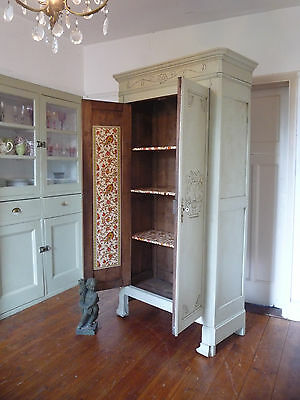 Petite Painted Antique French Armoire Wardrobe Cupboard
