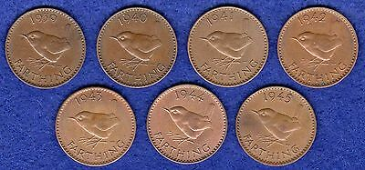 WWII, World War 2, Great Britain, George VI, Farthings, 1939-1945