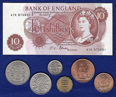 Great Britain 1967 Coin & 10 Shilling Note Set, 50th Birthday, Anniversary Gift