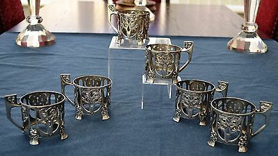 Stunning Antique WMF Art Nouveau Silver Plated Set of Six Tea Glass Holders