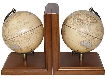 2 World Globe Bookends Educational Home Office Decor Book Stand Vintage Gift