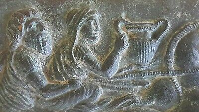 Vintage Plaque Old Ancient Greek Roman Bc - Ac Unknown Era Bronze Brass