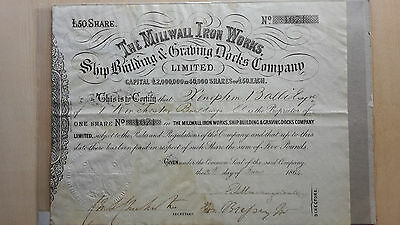 Millwall Iron Works Ship Building & Graving Docks 1864 Share Certificate