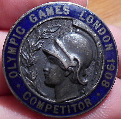 Olympic Games London 1908 SILVER COMPETITOR Badge ORIGINAL!!! VERY RARE!!!!!