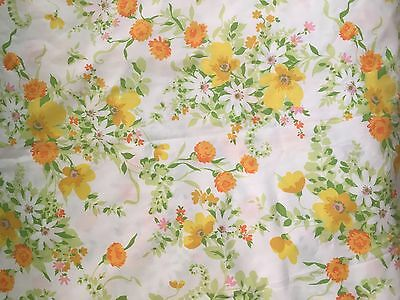 Vintage Flower SHEETS Yellow PERCALE Large Pillowcase & KING SIZED FLAT Daisy