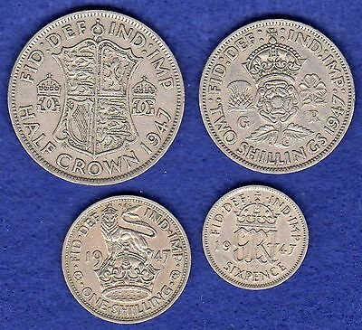 GB, George VI, 1947 Coin Set, Halfcrown - Sixpence, 4 Coins, 70th Birthday Gift