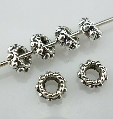 60pcs Tibetan Silver Spacer Beads 3x6mm & Hole 3mm  (Lead-free)