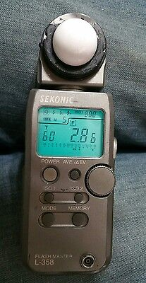 Used Working Sekonic Flash Master L-358 Light Meter with RT32 Transmitter