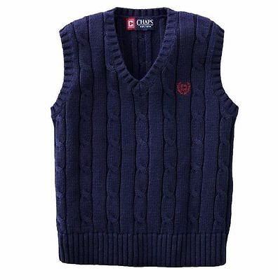 Chap's Boy's XLarge Navy Blue V-Neck Sweater Vest Cable Knit Top NEW $40