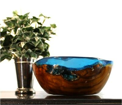 Aqua Blue Bowl of Resin and Teak Wood with Free Form Shape Hand Made