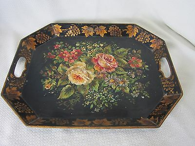 Antique Vintage Country Toleware Hand Painted Floral Serving Tray