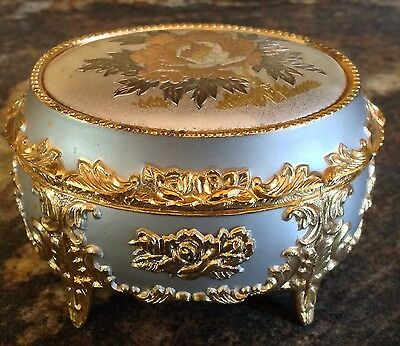 "Vintage Japan Footed Music Box Silver Gold Copper Colored Metal Peony ""memories"""