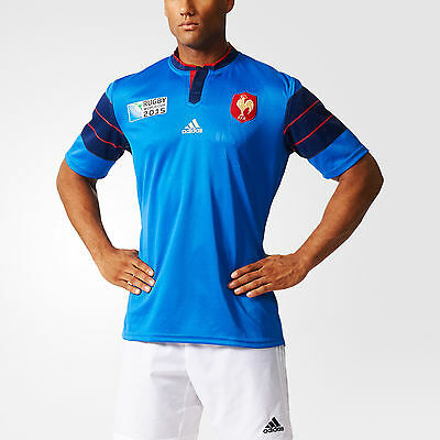 100% Official Adidas Men's France Rugby World Cup 2015 Home Jersey, Size: XL