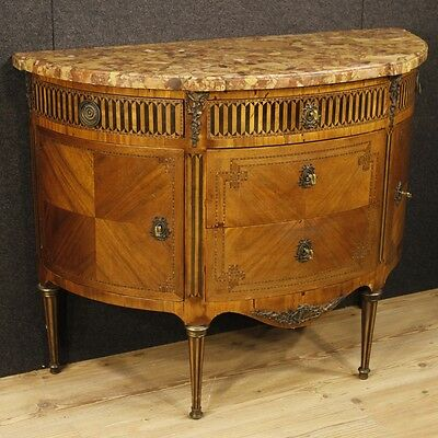Antique demilune dresser furniture cupboard chest of drawers wood marble top 800